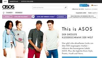 Webseite von Asos