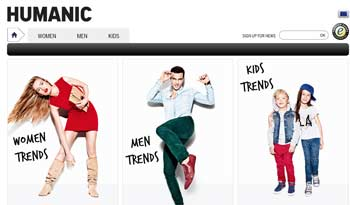 Webseite von Humanic