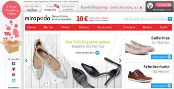 Webseite von Mirapodo