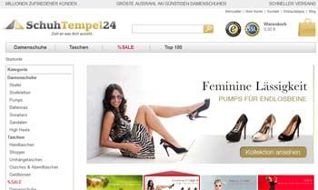 Webseite von Schuhtempel 24
