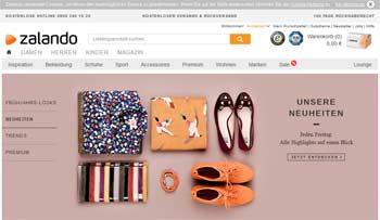Webseite von Zalando